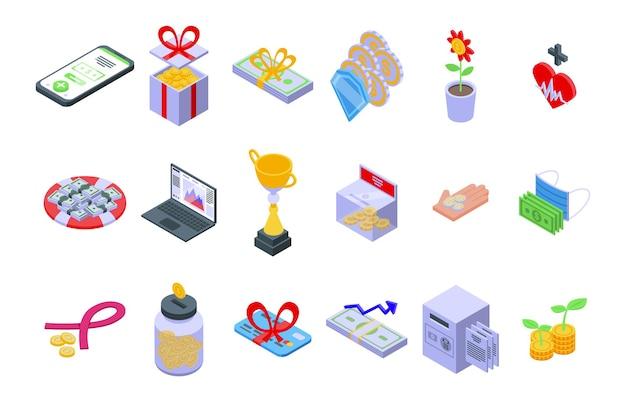 Icone di sostegno finanziario impostate vettore isometrico. consulenza finanziaria. consulente aziendale aiuto