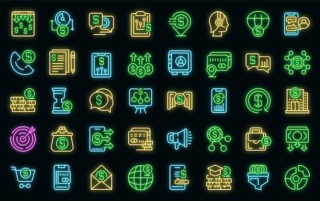 Icone di sostegno finanziario impostate vettore neon
