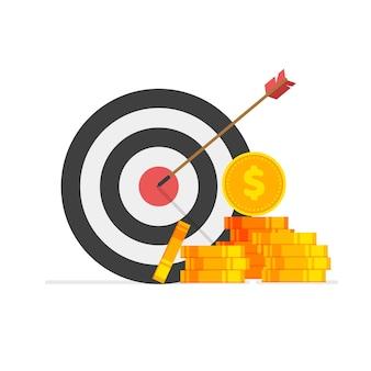 Obiettivo finanziario obiettivo commerciale idea e successo di marketing illustrazione vettoriale isolata