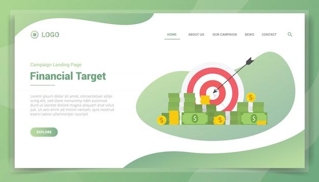 Obiettivo finanziario con denaro e freccette per modello di sito web o homepage di atterraggio