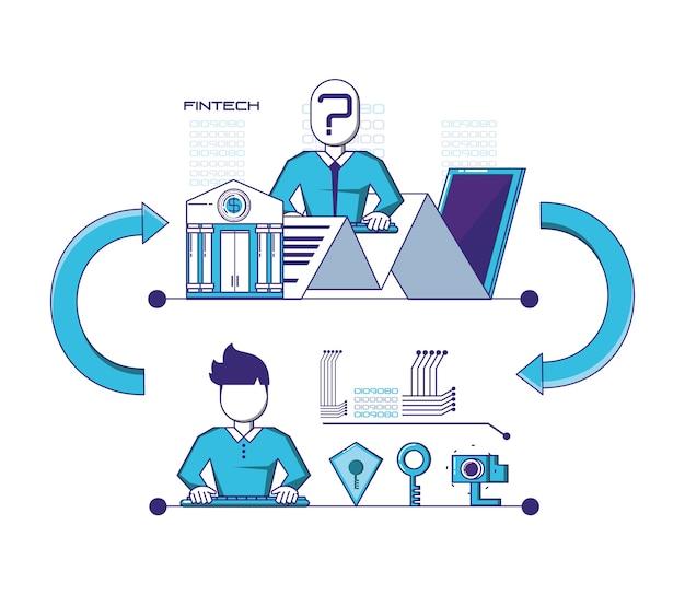 Progettazione stabilita dell'illustrazione di vettore delle icone di tecnologia finanziaria