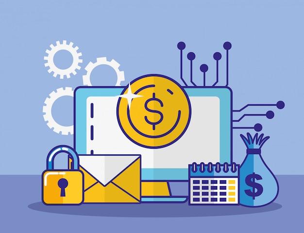 Tecnologia finanziaria con progettazione dell'illustrazione dell'icona da tavolino