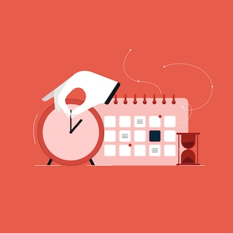 Concetto di gestione del tempo finanziario, controllo del tempo e illustrazione della gestione del progetto, agenda giornaliera con calendario e orologio