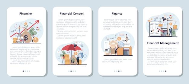 Set di banner per applicazioni mobili del finanziere