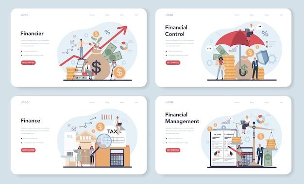 Banner web finanziere o set di pagine di destinazione
