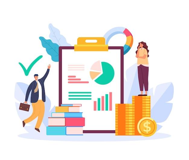Illustrazione di progettazione grafica piana di concetto di consultazione finanziaria finanziaria