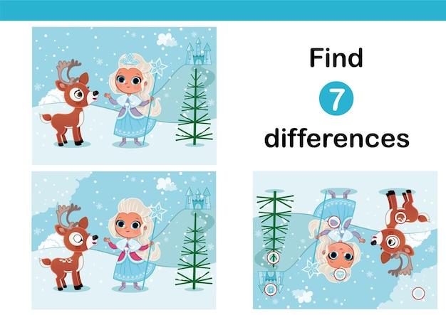 Trova 7 differenze gioco educativo per bambini con illustrazione vettoriale sirenetta