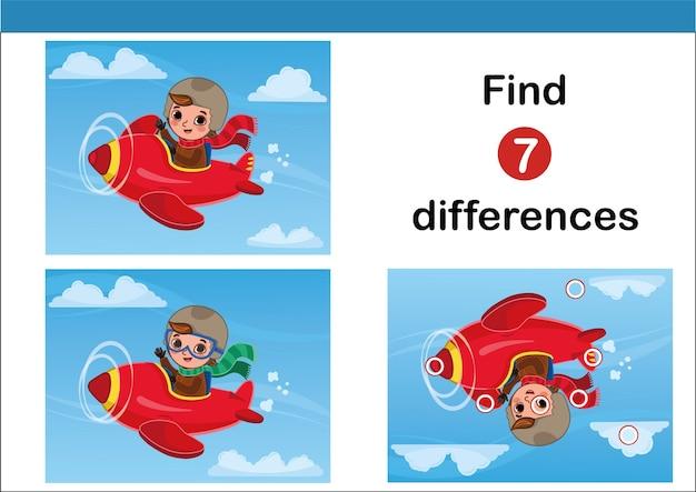 Trova 7 differenze di gioco educativo per bambini con un piccolo pilota illustrazione vettoriale