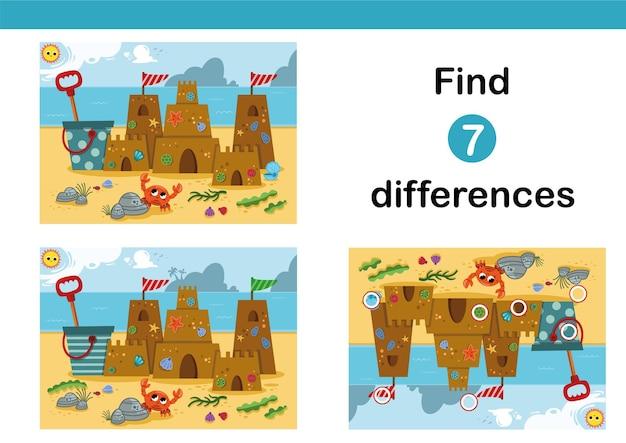 Trova 7 differenze gioco educativo per bambini con un castello di sabbia sulla spiaggia