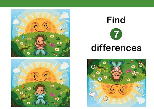 Trova 7 differenze gioco educativo per bambini ragazzino che si gode il sole su un campo in erba