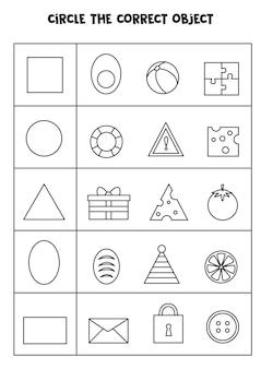 Trova l'oggetto corretto in una riga. abbina forme e oggetti. imparare le forme geometriche.