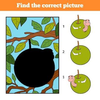 Trova l'immagine corretta, gioco educativo per bambini. verme nella mela