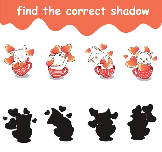 Trova l'ombra corretta di gatto e cuori nella tazza