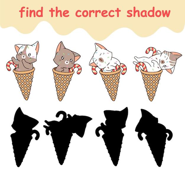 Trova l'ombra corretta del gatto all'interno del cono gelato