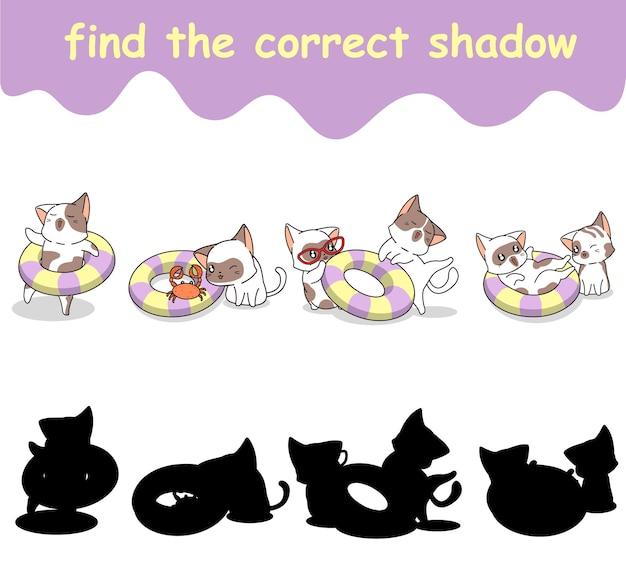 Trova l'ombra corretta del gatto e del salvagente