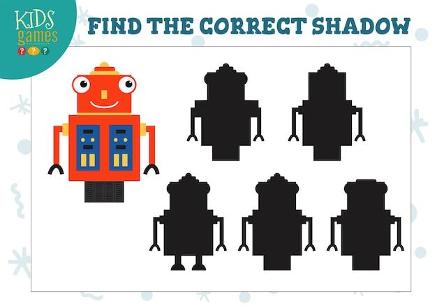Trova l'ombra corretta per il mini gioco educativo del robot umanoide simpatico cartone animato.