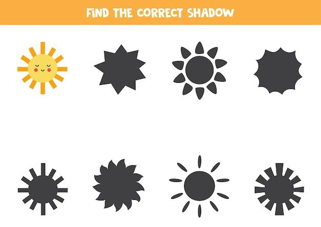 Trova l'ombra corretta del simpatico sole kawaii. puzzle logico per bambini.