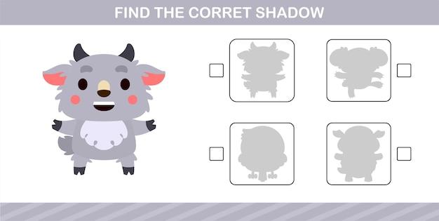 Trova l'ombra corretta di simpatiche pecore, gioco educativo per bambini di 5 e 10 anni