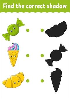 Trova l'ombra corretta foglio di lavoro per lo sviluppo dell'istruzione gioco di abbinamento per bambini