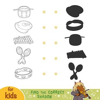 Trova l'ombra corretta, gioco educativo per bambini. set di strumenti musicali in bianco e nero