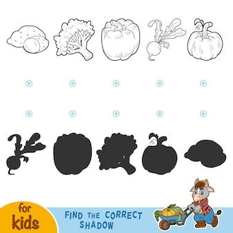 Trova l'ombra corretta, gioco educativo per bambini. verdure in bianco e nero