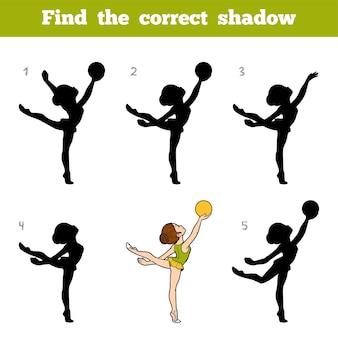 Trova l'ombra corretta, gioco educativo per bambini, la ginnasta con una palla