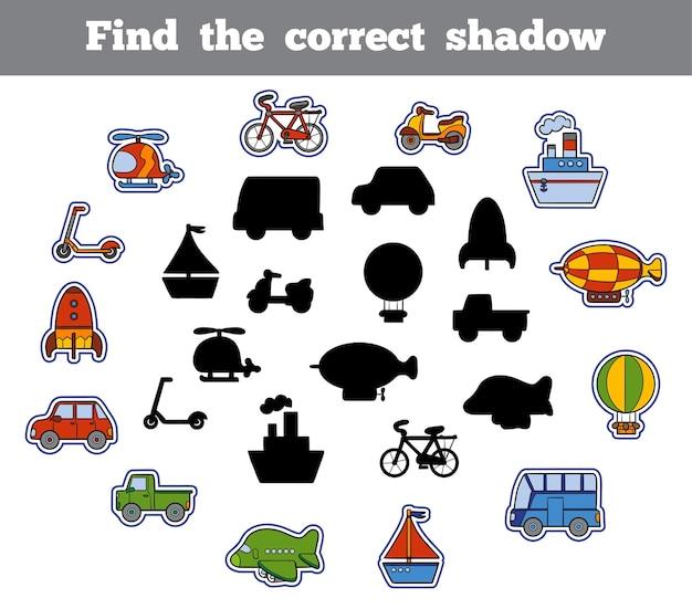 Trova l'ombra corretta, gioco educativo per bambini. set di trasporto dei cartoni animati