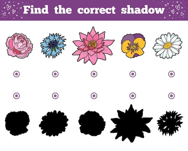 Trova l'ombra corretta, gioco educativo per bambini. set di fiori
