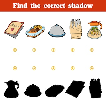 Trova il gioco di educazione ombra corretto per i bambini set di utensili da cucina e oggetti