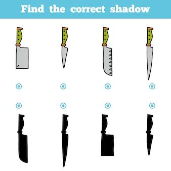 Trova l'ombra corretta, gioco educativo per bambini. set di coltelli