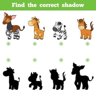 Trova l'ombra corretta, gioco educativo per bambini. insieme di vettore degli animali