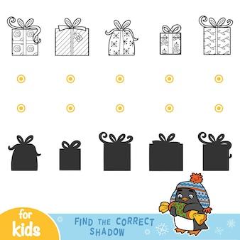 Trova l'ombra corretta, giochi educativi per bambini. regali di natale in bianco e nero