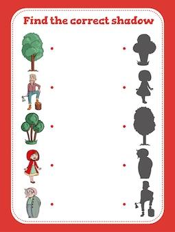 Trova il gioco educativo dell'ombra corretto per l'illustrazione del fumetto dei bambini