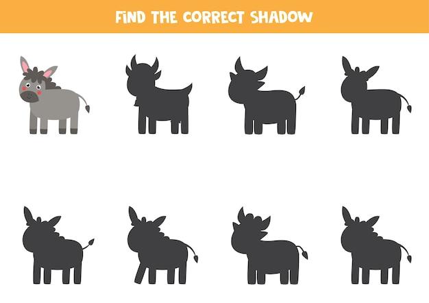 Trova l'ombra corretta dell'asino della fattoria. gioco logico educativo per bambini.