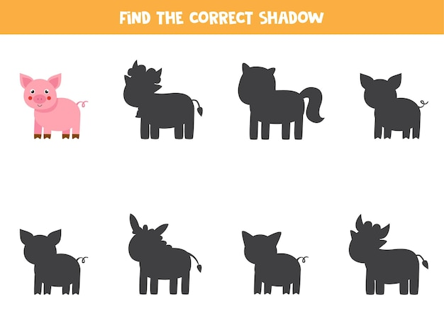 Trova l'ombra corretta del maiale da fattoria. gioco logico educativo per bambini.
