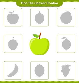 Trova l'ombra corretta. trova e abbina l'ombra corretta di apple. gioco educativo per bambini, foglio di lavoro stampabile