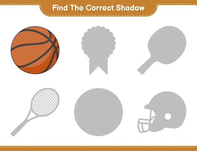 Trova l'ombra corretta. trova e abbina l'ombra corretta di basket. gioco educativo per bambini