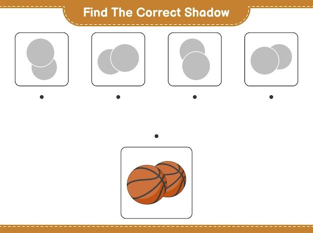 Trova l'ombra corretta trova e abbina l'ombra corretta del gioco educativo di basket per bambini