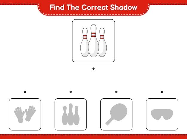 Trova l'ombra corretta. trova e abbina l'ombra corretta di bowling pin. gioco educativo per bambini, foglio di lavoro stampabile