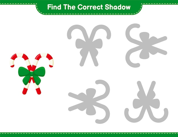 Trova l'ombra corretta. trova e abbina l'ombra corretta dei bastoncini di zucchero con il nastro. gioco educativo per bambini