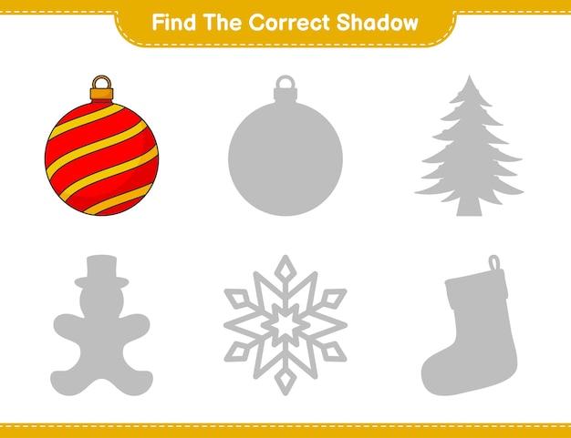 Trova l'ombra corretta trova e abbina l'ombra corretta di christmas ball