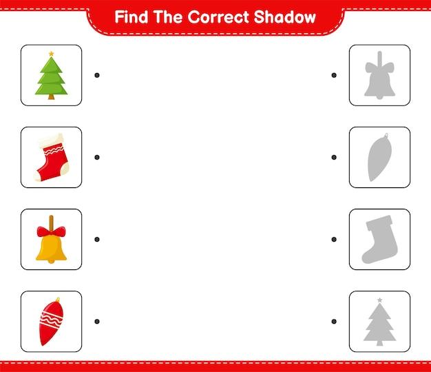 Trova l'ombra corretta. trova e abbina l'ombra corretta della decorazione natalizia.