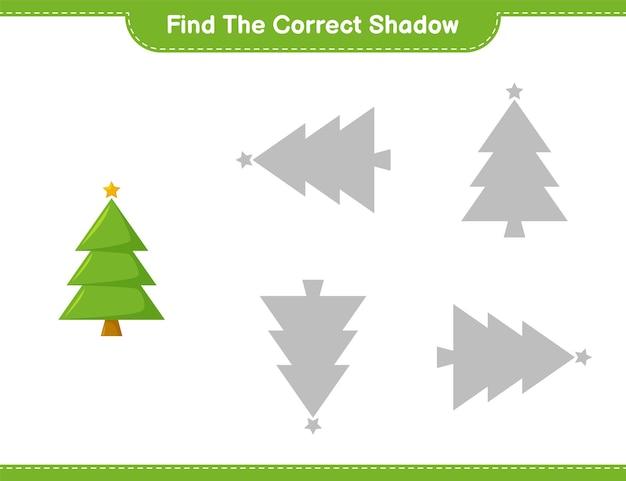 Trova l'ombra corretta. trova e abbina l'ombra corretta dell'albero di natale. gioco educativo per bambini