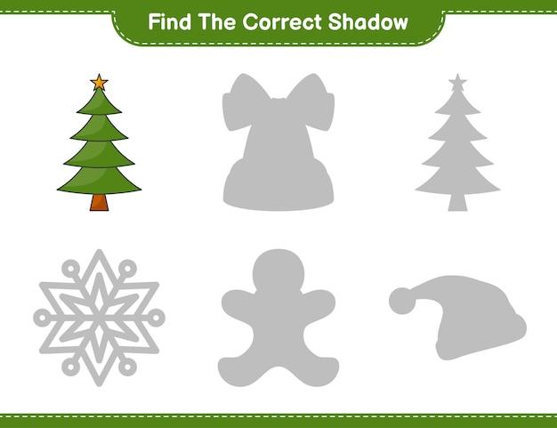 Trova l'ombra corretta trova e abbina l'ombra corretta dell'albero di natale