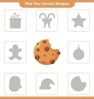 Trova l'ombra corretta. trova e abbina l'ombra corretta dei cookie. gioco educativo per bambini