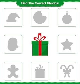 Trova l'ombra corretta. trova e abbina l'ombra corretta delle confezioni regalo. gioco educativo per bambini