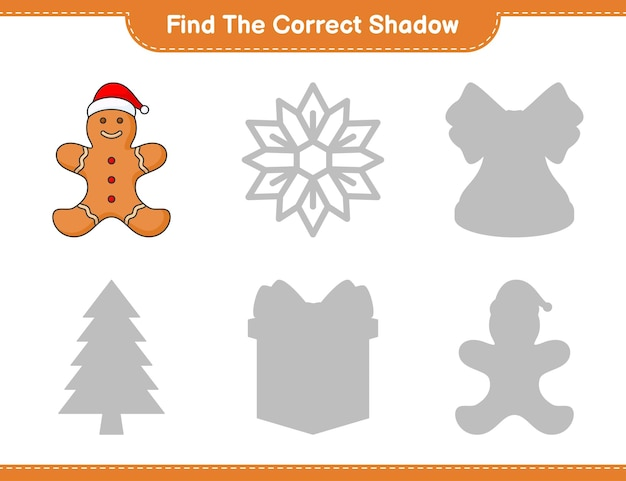 Trova l'ombra corretta trova e abbina l'ombra corretta di gingerbread man