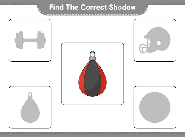 Trova l'ombra giusta. trova e abbina l'ombra corretta del sacco da boxe