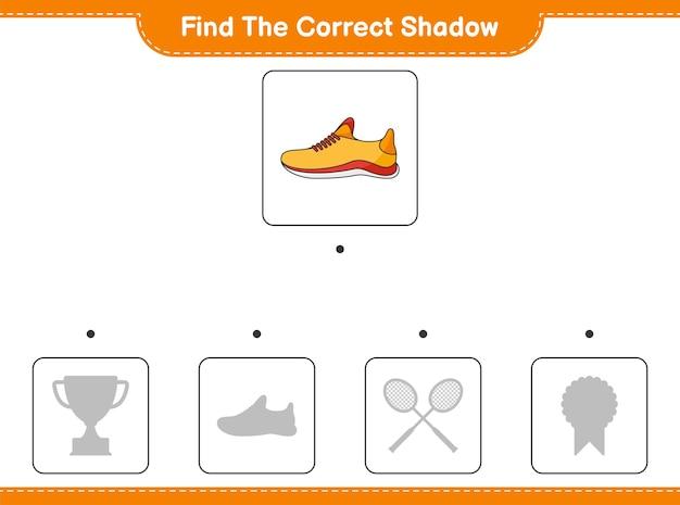 Trova l'ombra corretta. trova e abbina l'ombra corretta delle scarpe da corsa. gioco educativo per bambini, foglio di lavoro stampabile