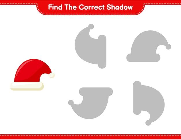 Trova l'ombra corretta. trova e abbina l'ombra corretta di cappello di babbo natale. gioco educativo per bambini